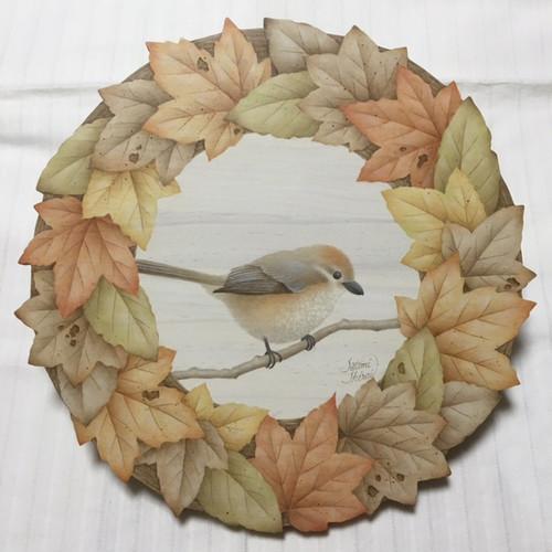 落ち葉と小鳥のリース